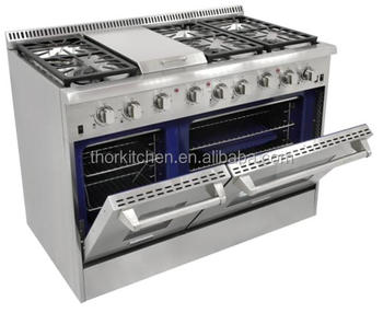 stainless steel gas stove cooktops with grill and oven used for kitchen hrg4804u