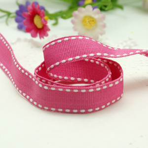 White Edged for Garment Red Stitching Ribbon Saddle 7/8 Grosgrain Ribbon