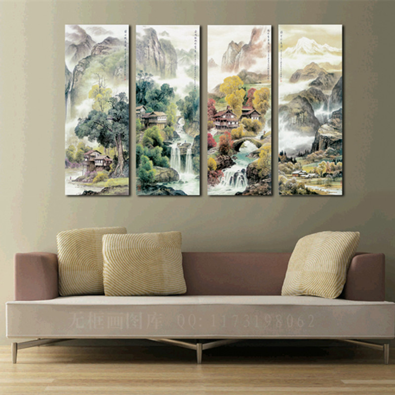 Affordable Wall Decor: Large 4 Piece Canvas Art Cheap Modern Wall Panel Decor 4
