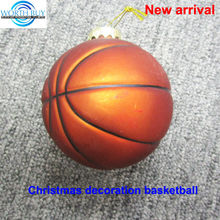 Decorative basketball of sports series glass christmas ornament supplier