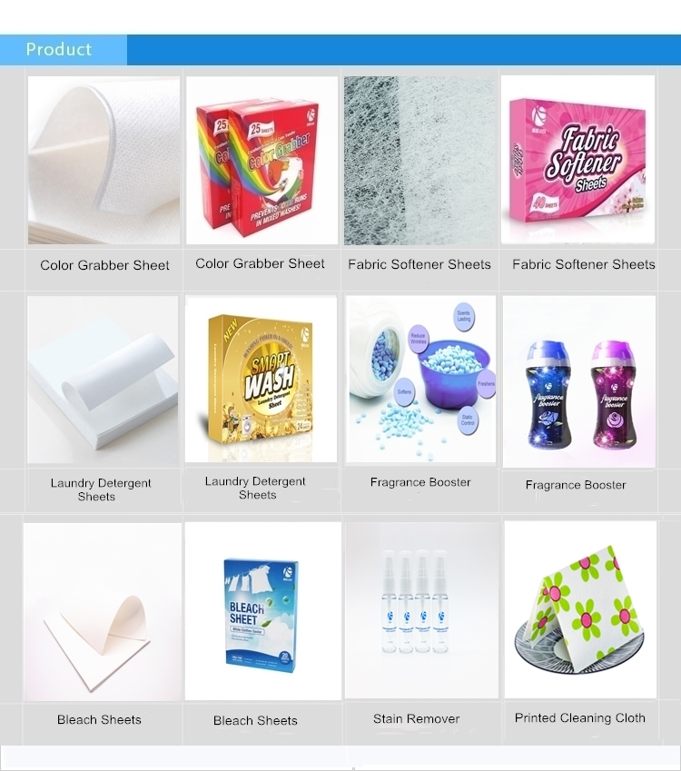 High level customized cleaning detergent portable paper fabric softener dryer sheets