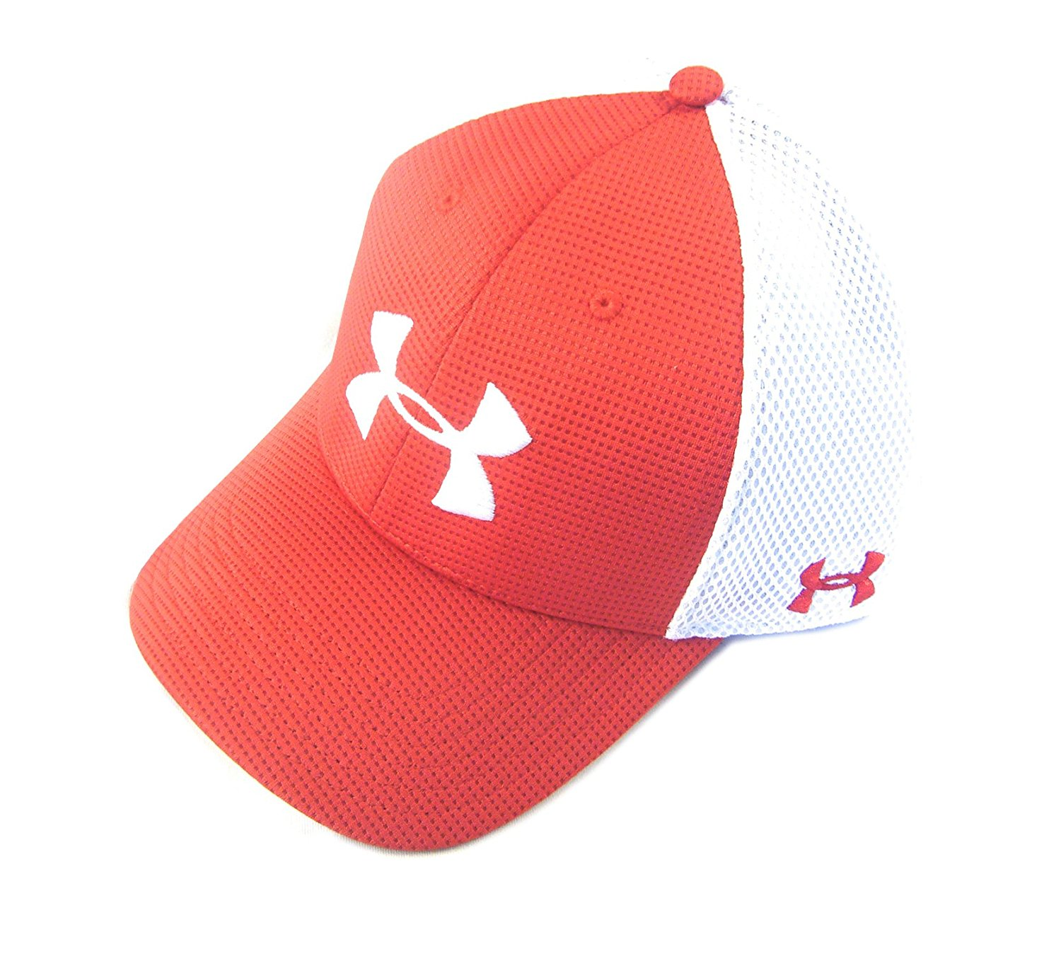 Get Quotations · NEW Under Armour Spacer Mesh OSFM Stretch-Fit Red White  Mens Hat Cap 30b7f33d72c