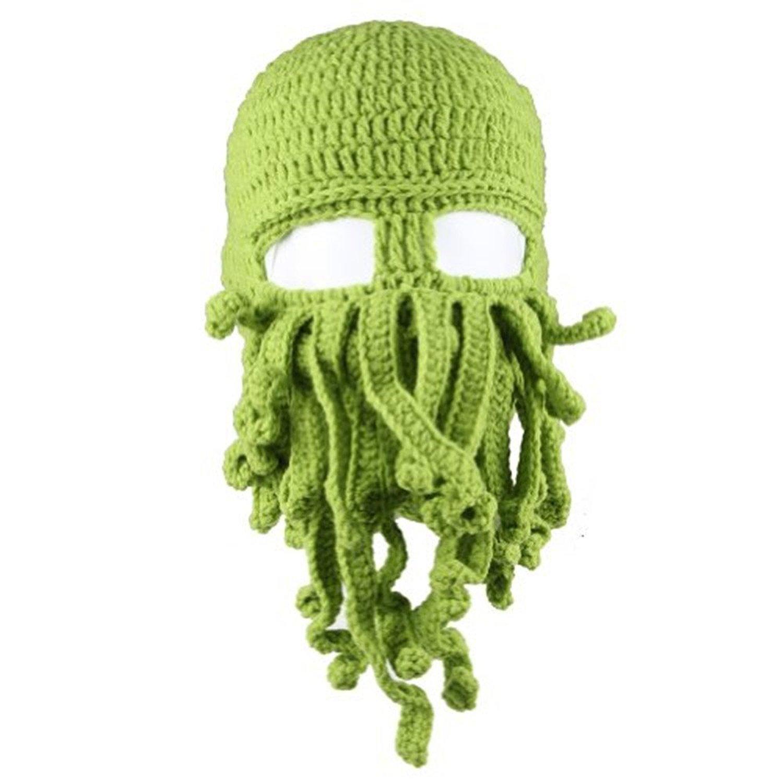Dealzip Inc Winter Warm Novelty Unisex Knitted Wool Funny Octopus Mask Beard Caps Crochet Beanies Men Women Unisex