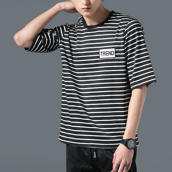 New Causal Fashion T-shirts 100% Combed Cotton Mens Custom White and Black Striped T Shirt