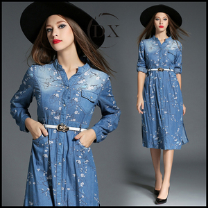 Woman Lady Girl Spring Autumn Winter Fashion Fancy Printed Long Sleeve Casual denim Maxi Shirt Dress With Belt