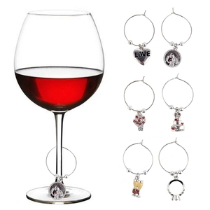 WM-10082A Luxury Wedding Wine Charm Rings Valentines Drink Marker Wholesale Wine Glass Charm Holder For Bridal