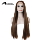 Anogol High Temperature Heat Resistant Fiber Hair Side Part Long Silky Straight Wave Brown Synthetic Front Lace Wig For Women