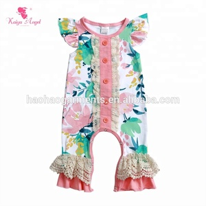 2018 flutter sleeve infant baby rompers wholesale newborn baby clothes for summer