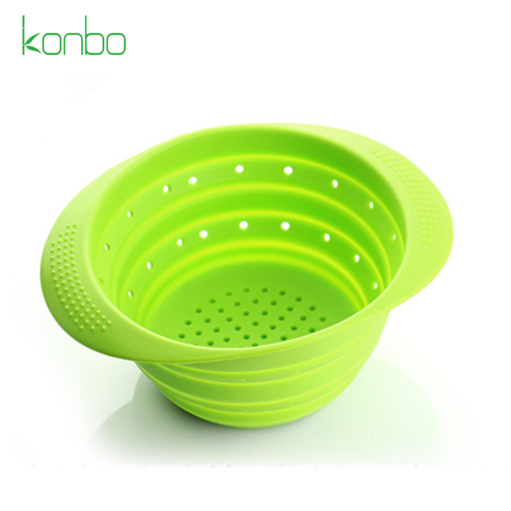 High Quantity Kitchen Silicone Round collapsible colander silicon strainer bowl