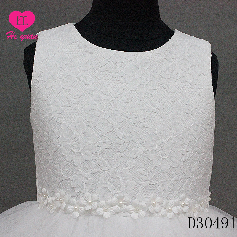 D30491Flower Girls Dresses Soft Lace Dress with Rhinestones