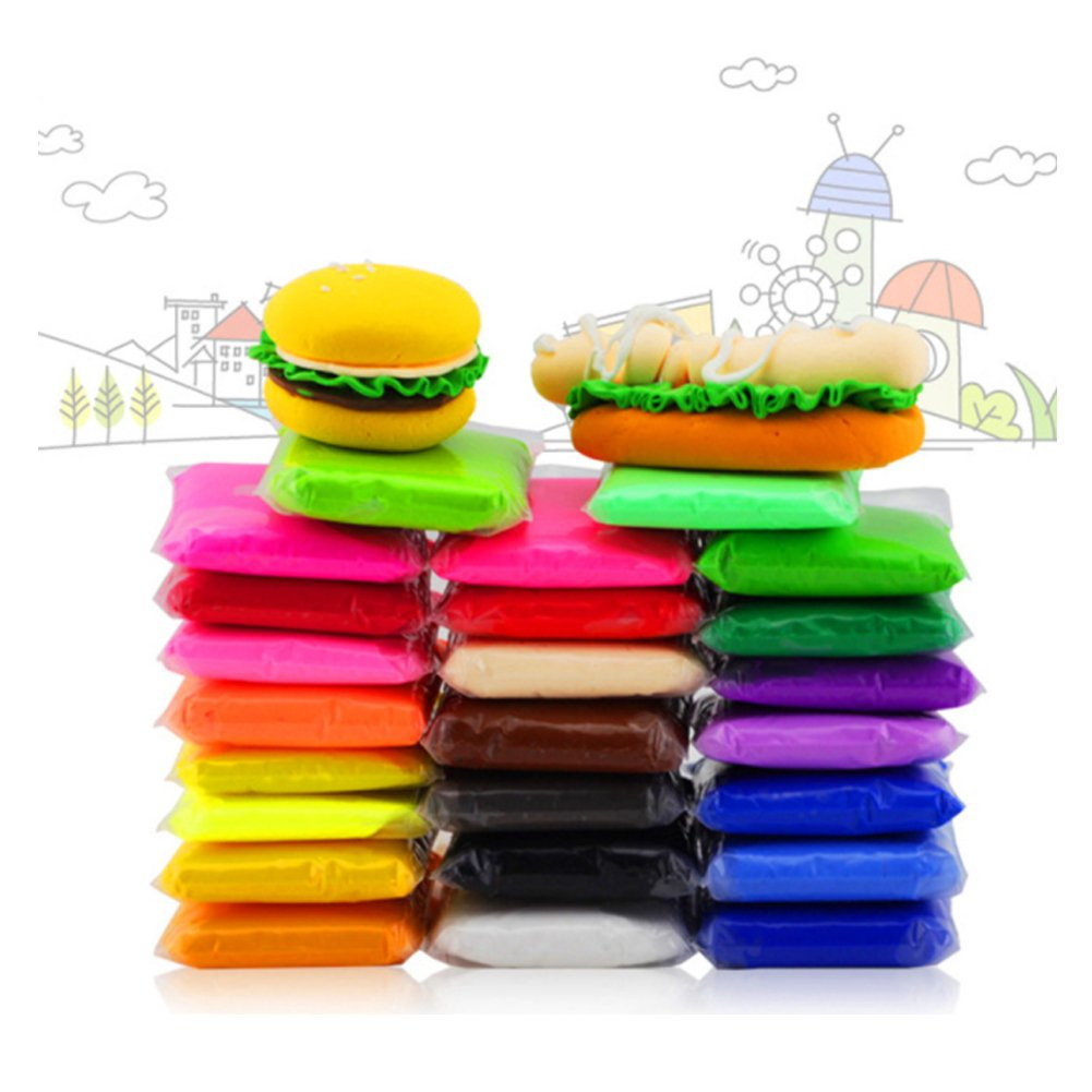 24 Colors Air Dry Clay, Ultra Light Modeling Clay, QMay Magic Clay Artist Studio Toy, No-Toxic Modeling Clay & Dough, Creative Art DIY Crafts, Gift for Kids
