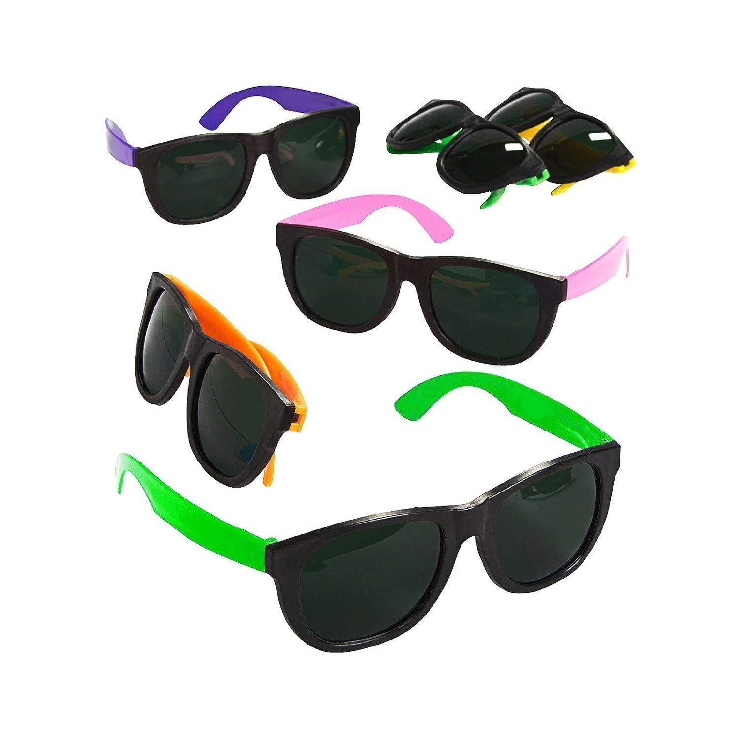 5fbbdd556e Get Quotations · Blue Green Novelty Bulk Lot of 24 Neon 80 s Style Party  Sunglasses with Dark Lens