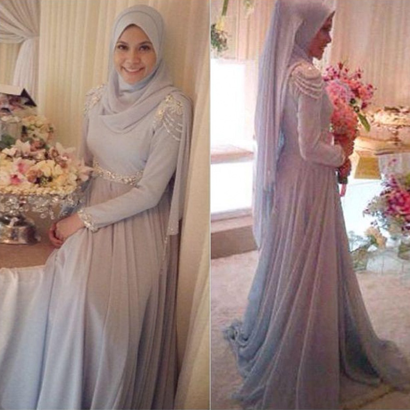 Elegant Long Sleeve Wedding Dresses Muslim Dress 2015: 2015 Elegant Chiffon Hijab Long Sleeve Muslim Evening