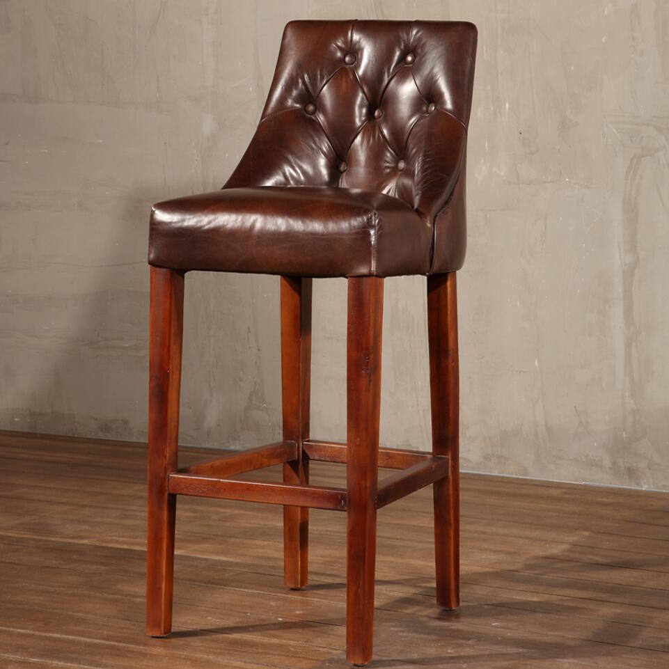 Diseño Francés Marco De Roble Industrial Vintage Martine Taburete De ...