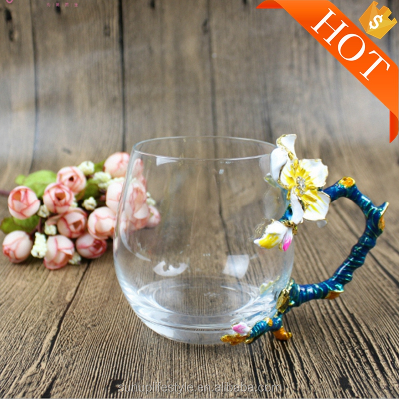 Tea Cup Coffee Cup Clear Glass & Spoon Handmade Butterfly Prunus For Nice Gift