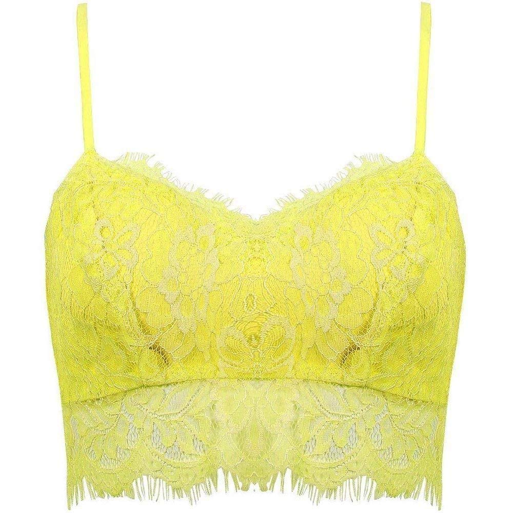 643e779418f57 Get Quotations · BUYEONLINE Women Lady Sexy Lace Crop Top Zip Back Strappy  Bra Yellow L