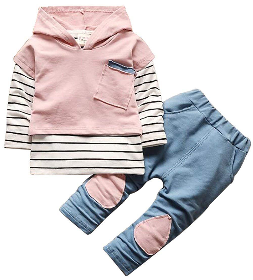 UNIQUEONE 3Pcs Infant Baby Clothes Stripe T-Shirt Tops+Hoodie Coat+Denim Patch Pants Outfits Set