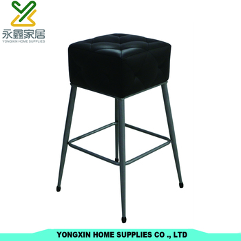 Metal Bar Chair With 4 Legs Chrome Frame Stool