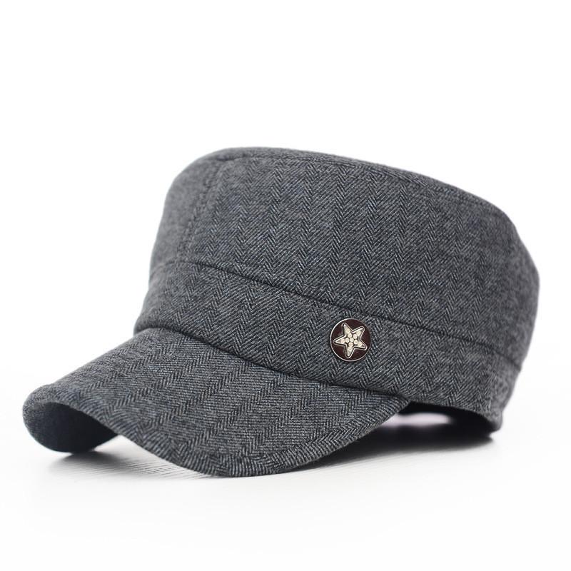 b27ec621425 Get Quotations · Mens Winter Warm Cap Cotton 3 Colors Free Size Classic  Plain Vintage Army Hat Cadet Military