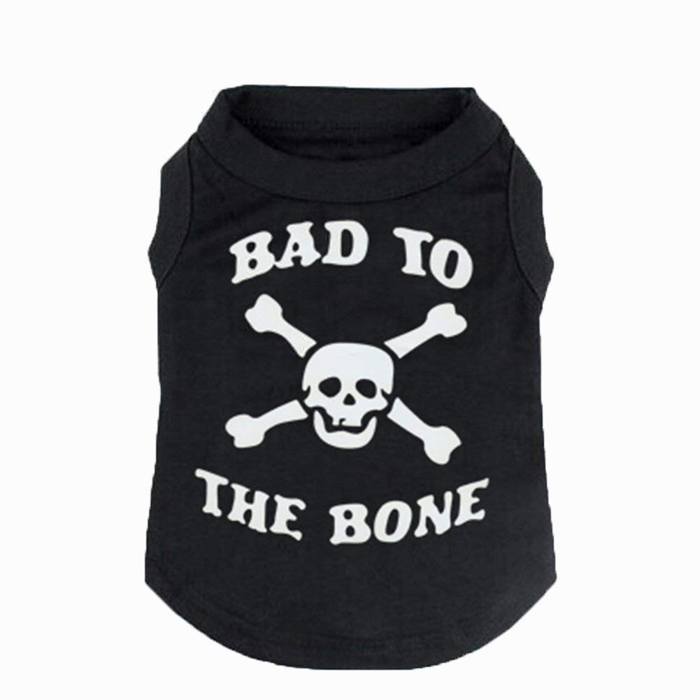 "JIEYA Small Dog T-Shirt Pet ""BAD TO THE BONE"" Skull Printed Shirt Coat Clothes for Puppy"