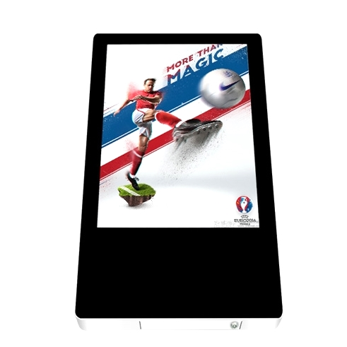 18.5 inch grote touch reclame video mp4-speler lift building waterfles display stands