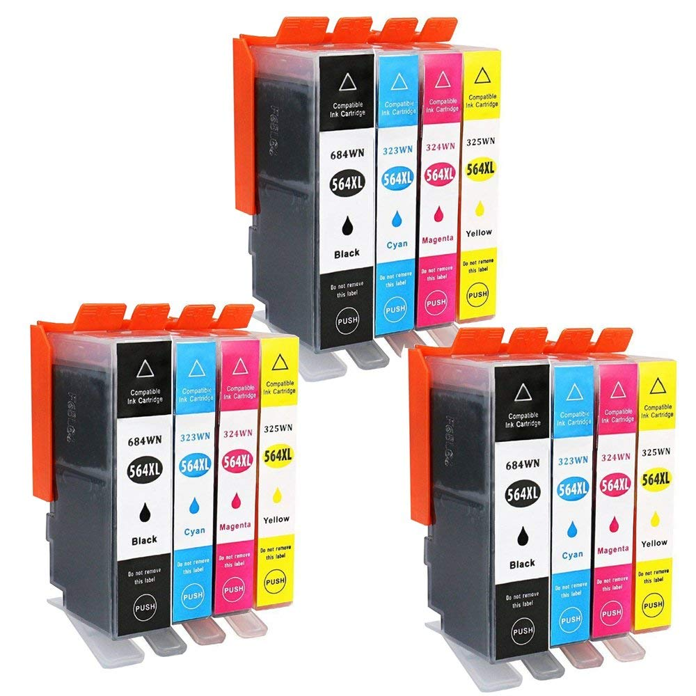 Wolfgray 12 PK Compatible Ink Cartridge HP 564XL Replace for HP DeskJet 3520 3522 Officejet 4620 Photosmart 5520 6510 6515 6520 7520 7525 D7560 (3set)