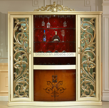 Luxury Golden Home Bar Furniture Solid Wood Bar Cabinet Wine