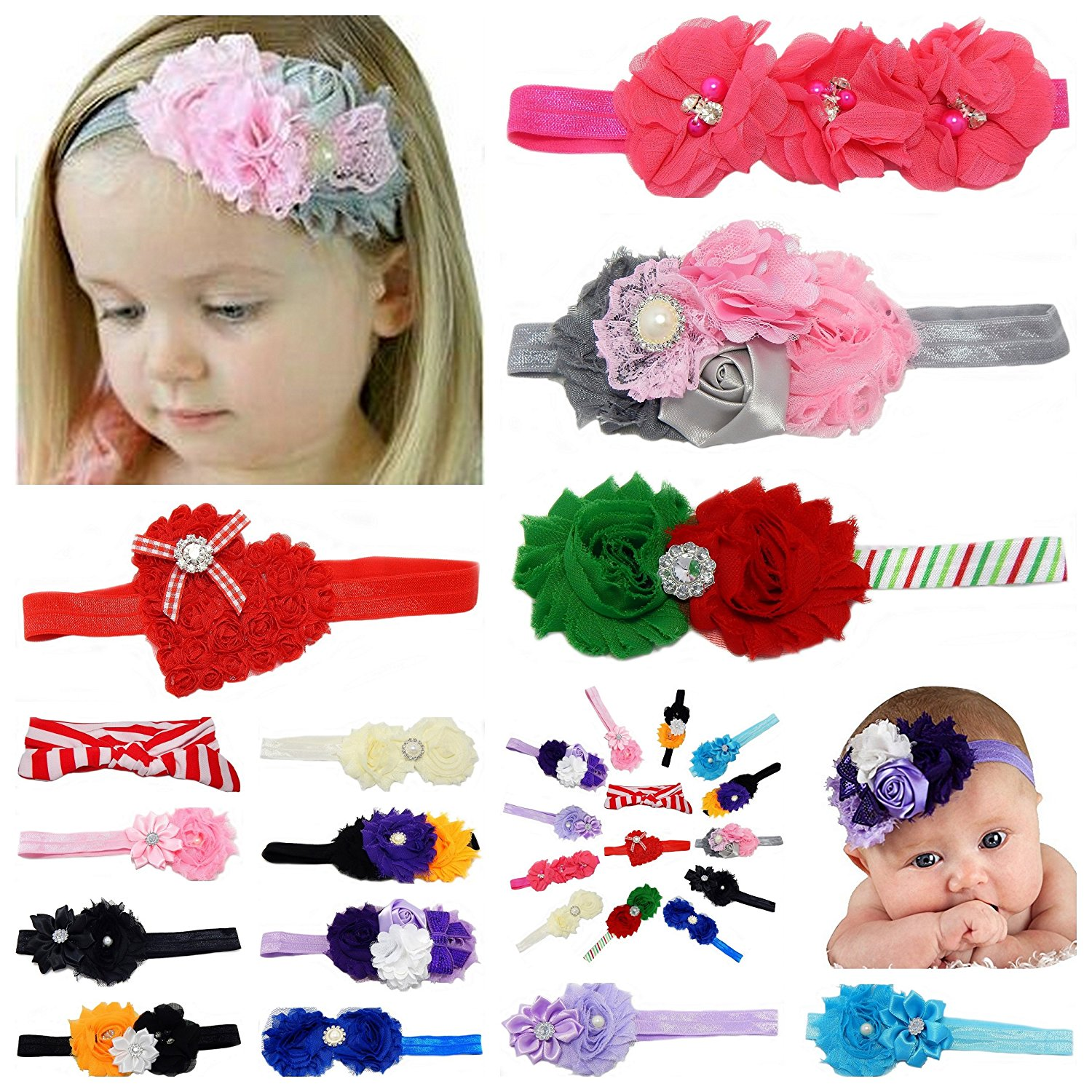 14pcs Lots Mix Baby & Girl Headbands with Hair Bow Flower for Photograph and Holiday