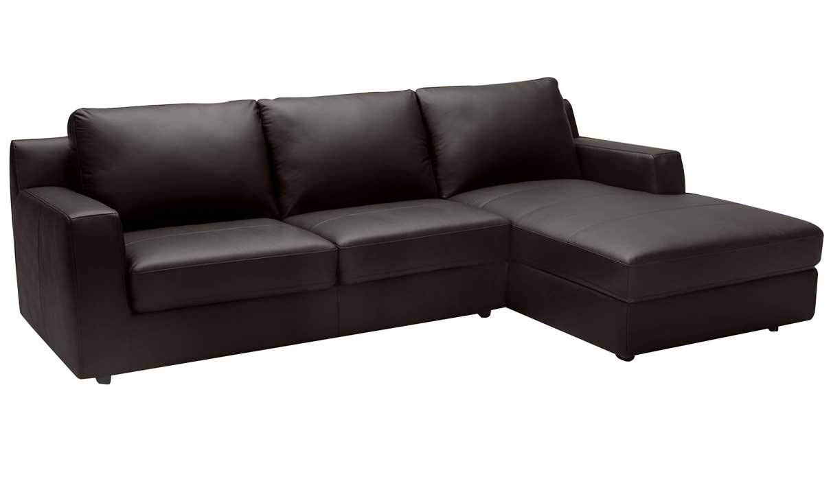 J&M Furniture Taylor Leather Right Facing Sectional Sofa in Dark Brown