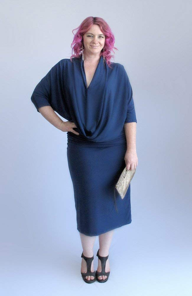 0ab5717995f Get Quotations · Some Things Must Be Dark. Blue Plunging Neck Dolman Dress