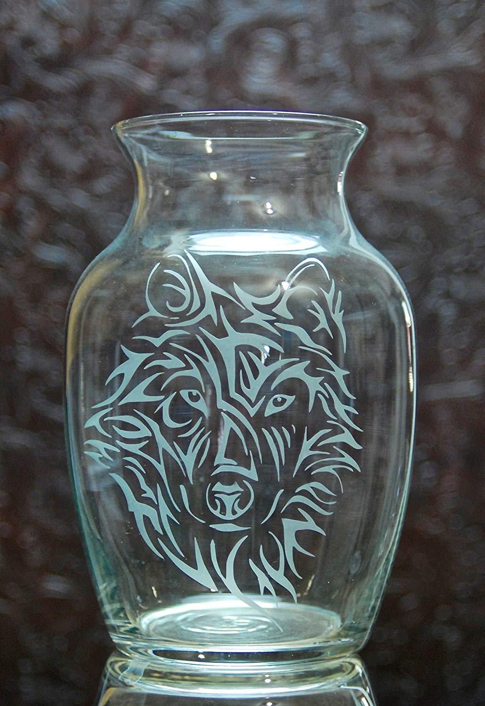 Glass Etched Wolf Head Vase 7.5 Inch - Design 1