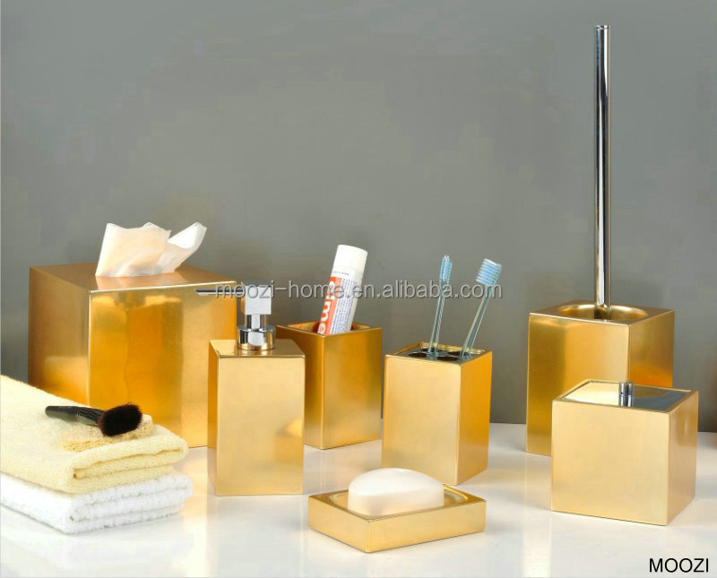 Gold coloured bathroom accessories ceramic gold bath set for Where to find bathroom accessories