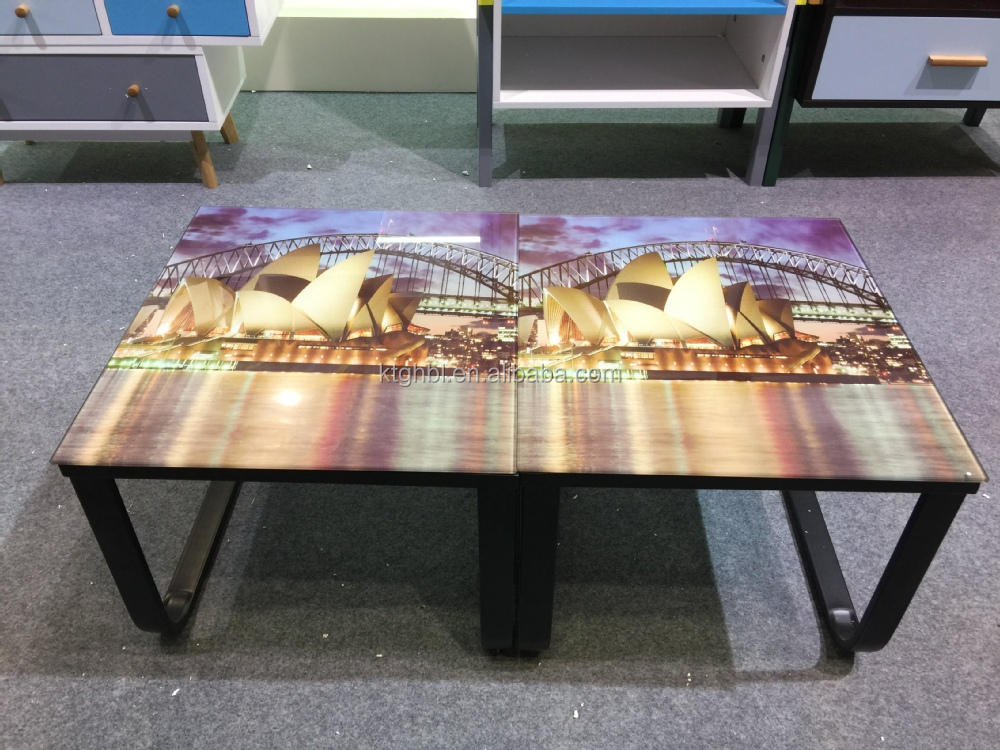 2018 Hot sale Different designs glass stick with paper coffee table