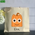 High quality childlike interest halloween trick or treat silkscreen nature color custom canvas tote bag