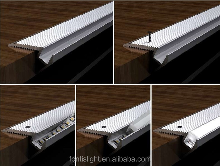 F Shape Aluminum Extrusion Profiles For Stairs Decorative Lighting ...
