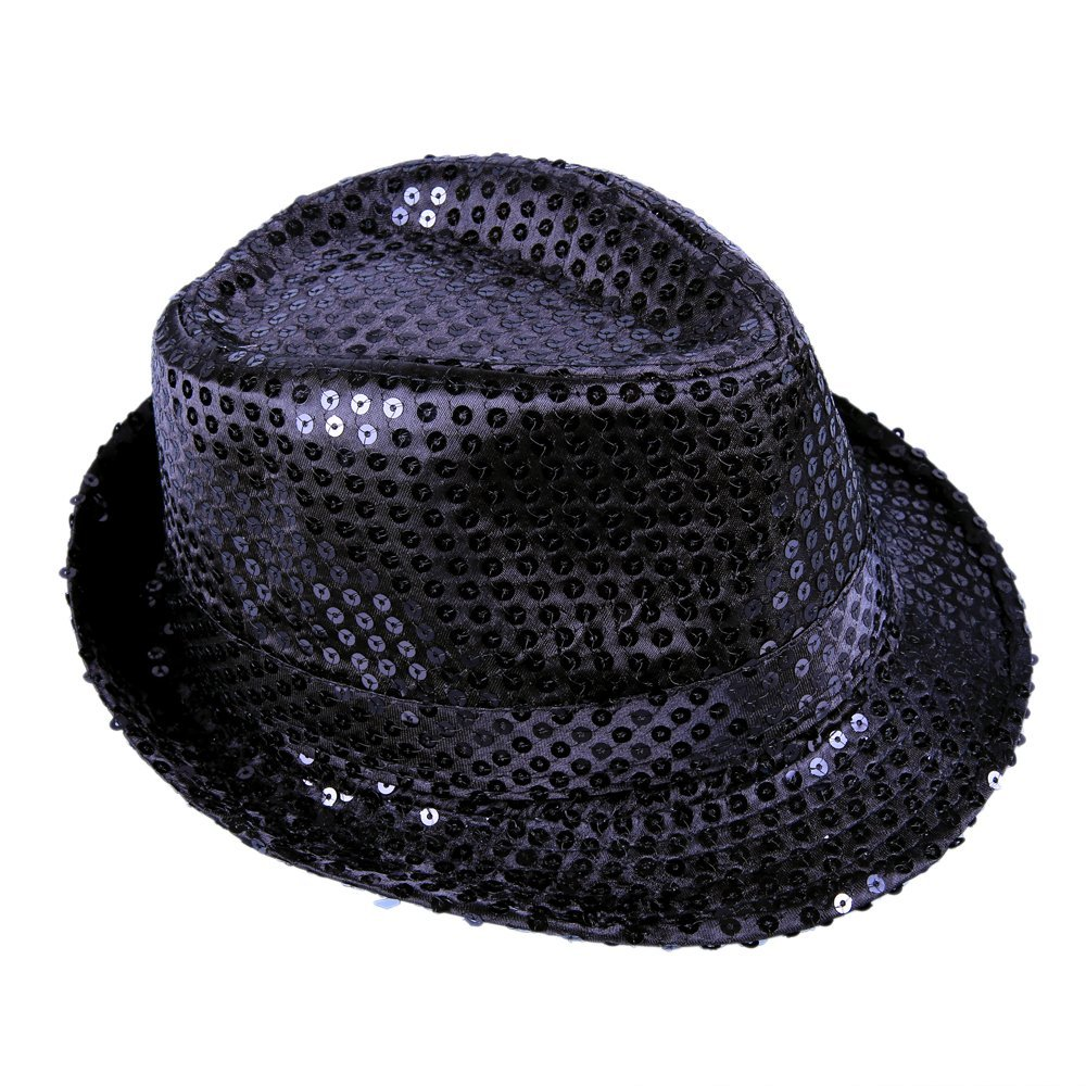 3e0ad48a521f5 Get Quotations · Anleolife Black Sequins Fedora Party Hats For Adults  Kids Funny Novelty Show Hats Bling