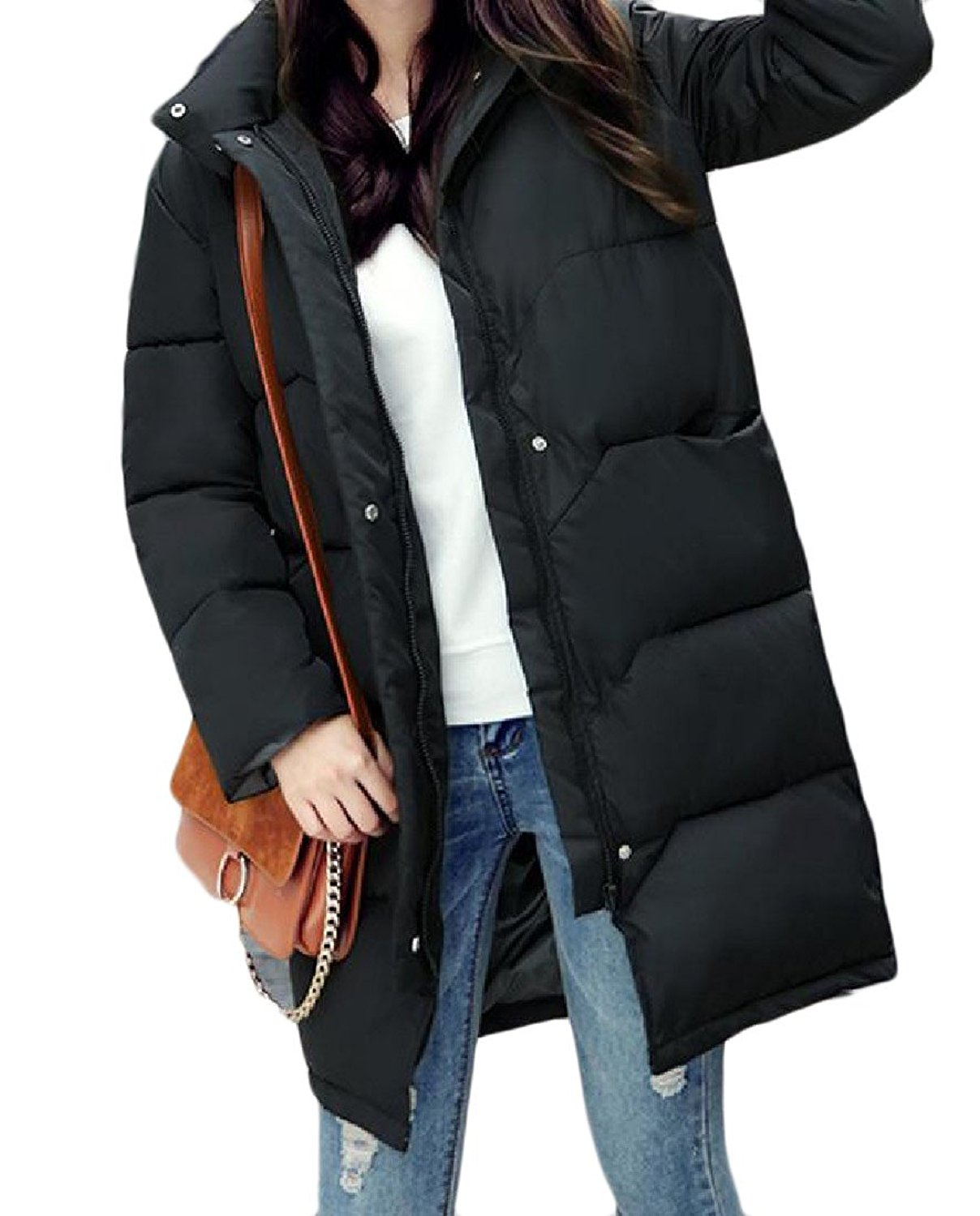 Sheng Xi Women Pockets Oversized Stand Collar Thicken Stylish Down Coats