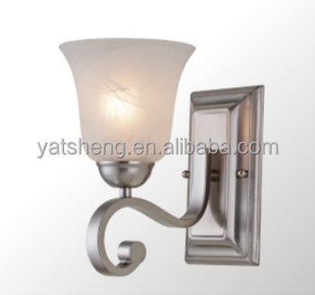 Single Light Bathroom Light /Alabaster Lamp Shade Brushed Nickel Wall Light  With Ulu0026CUL Approval