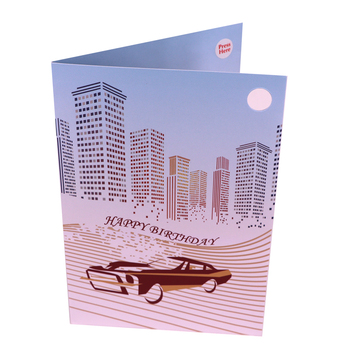 ODM Design 3d Pop Up Red Car Laser Cut Music Greeting Card