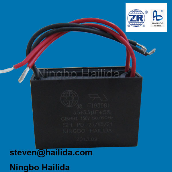 Cbb61 3.5+3.5uf 4 Wire Fan Capacitor - Buy 4 Wire Fan Capacitor ...