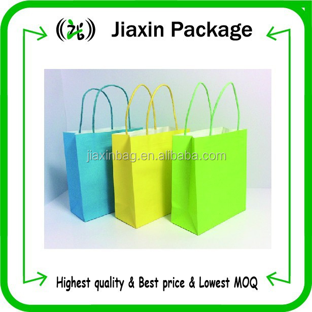 Customized logo printed kraft paper shopping bags in stock!