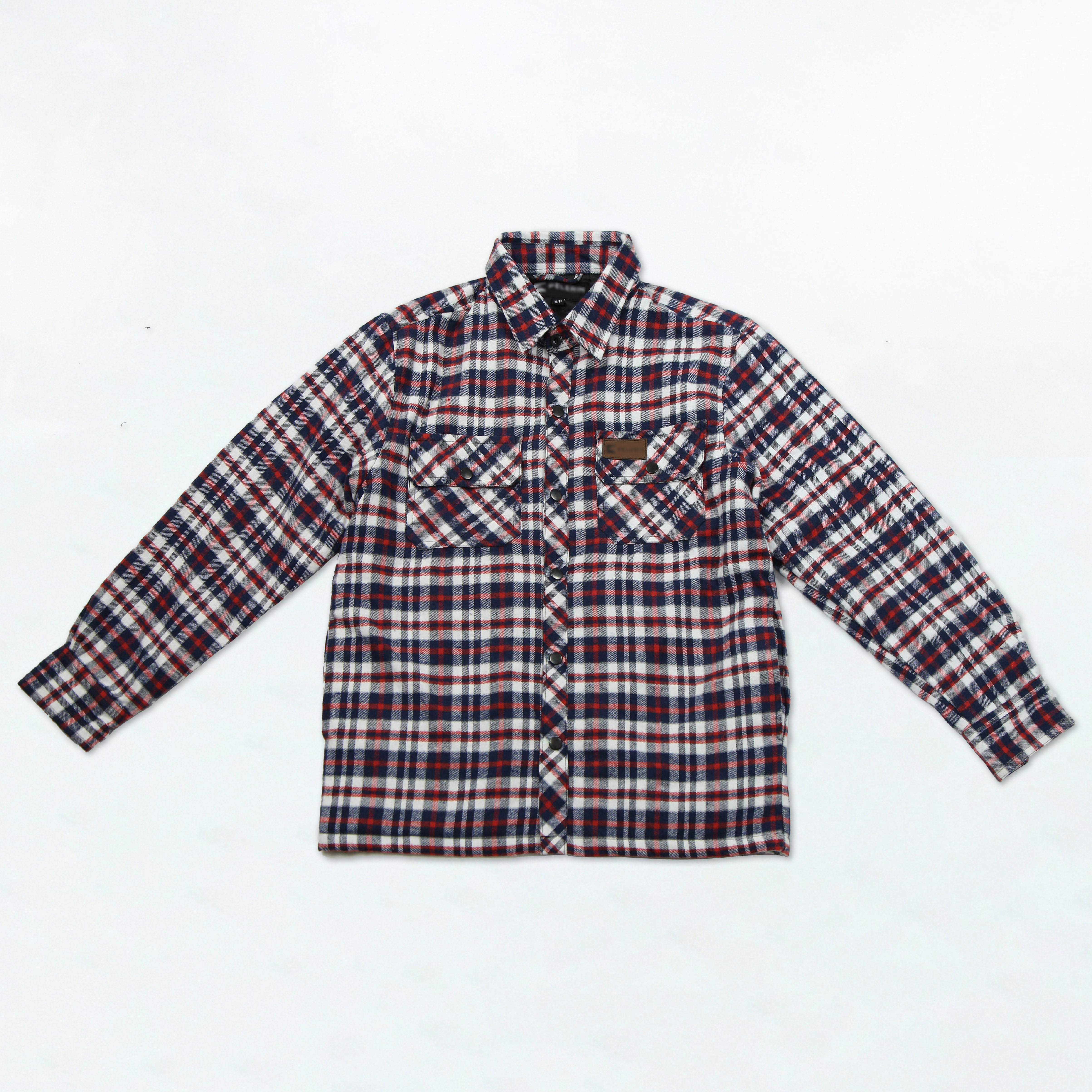 Mens Quilted Flannel Shirt Checked Long Sleeve Winter Plaid Lined