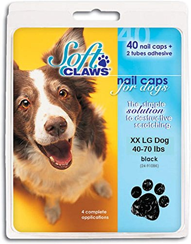 Soft Claws XX Large Black Nail Caps for Dogs 40-70 lbs Canine Paws