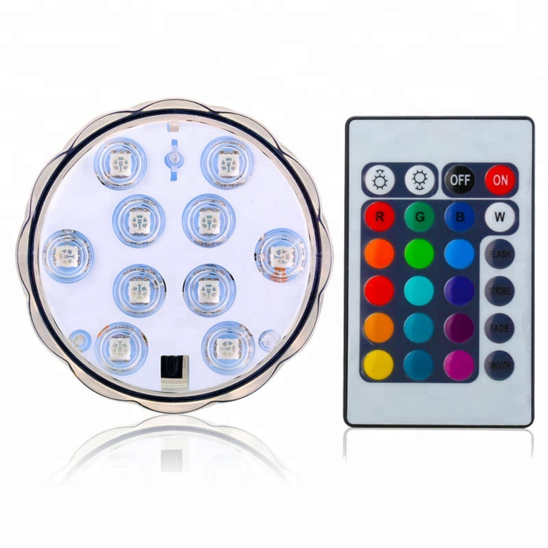 Afstandsbediening Battery Operated Dompelpompen 10 LED Light RGB Multi-Color Waterproof Pool Light