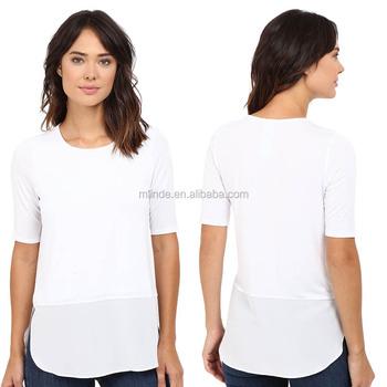 a81b0b0046bb29 Women Plain White Long Tee Shirt Modal Spandex Scoop Neck Silk Bottom 3/4  Sleeve