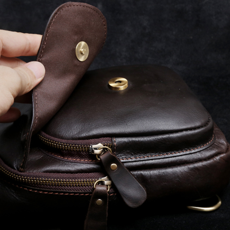 Chest Pack 100% Genuine Leather Men Cowhide Vintage Style Crossbody Bags Handmade Handbags High Quality Mens Bag
