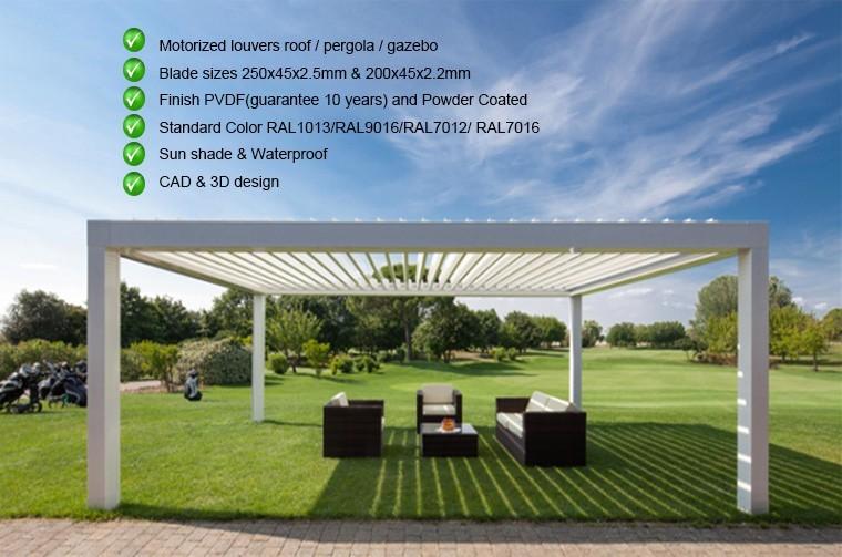Outdoor motorized waterproof garden aluminium pagoda