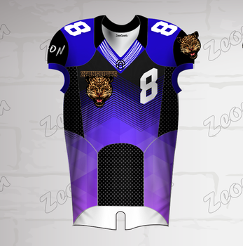 Factory custom leopard lila blau design team logo praxis kampf spiel american football training jersey uniform