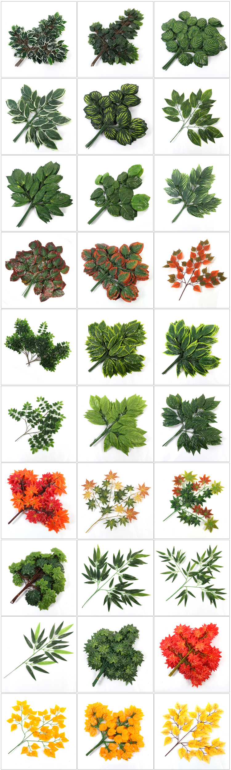 Artificial leaves green plants plastic tree branch for decoration wedding