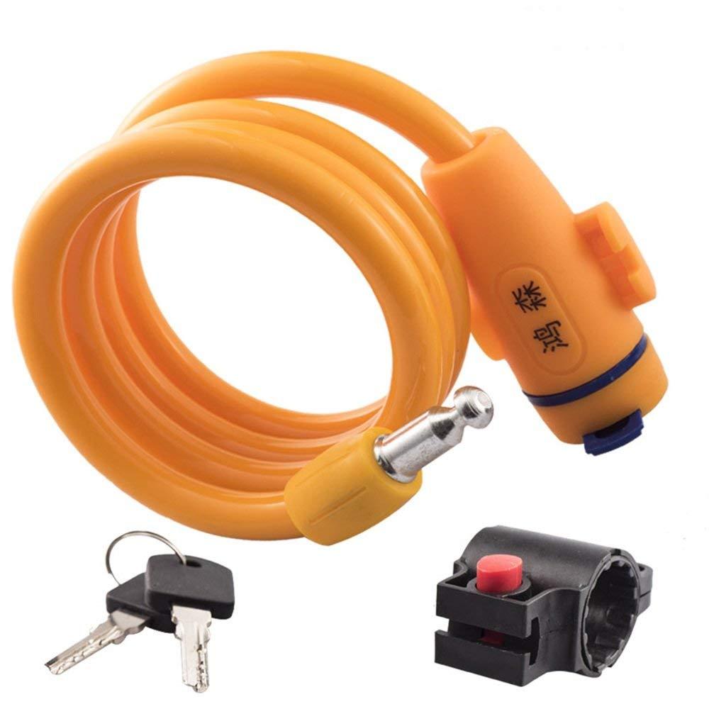 Bicycle Accessories Bicycle Cable Lock Mountain Bike Lock Anti-theft Lock Anti-cut Battery Car Electric Car Anti-theft Lock - LXZXZ (Color : Orange)